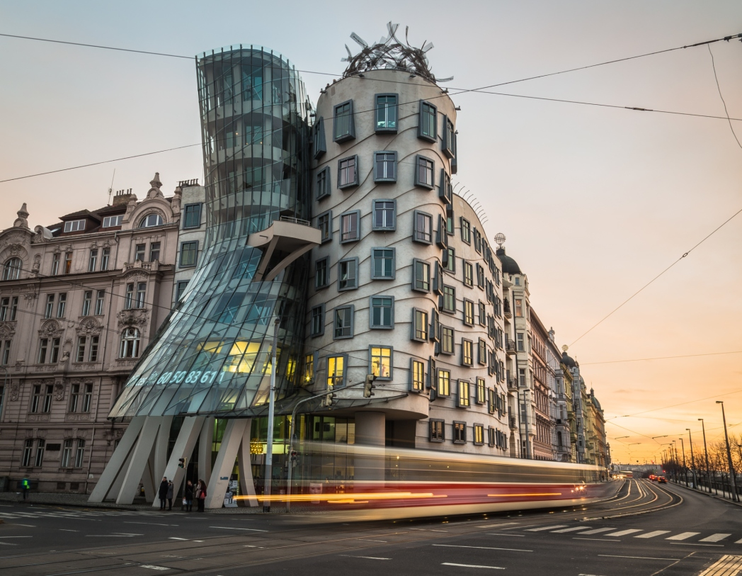 vista della dancing house a Praga