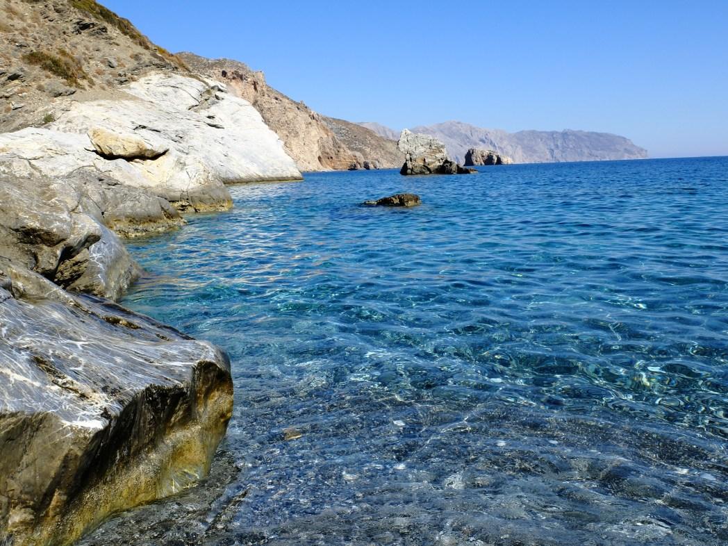 Amorgos, Grecia, Spiaggia di agia anna