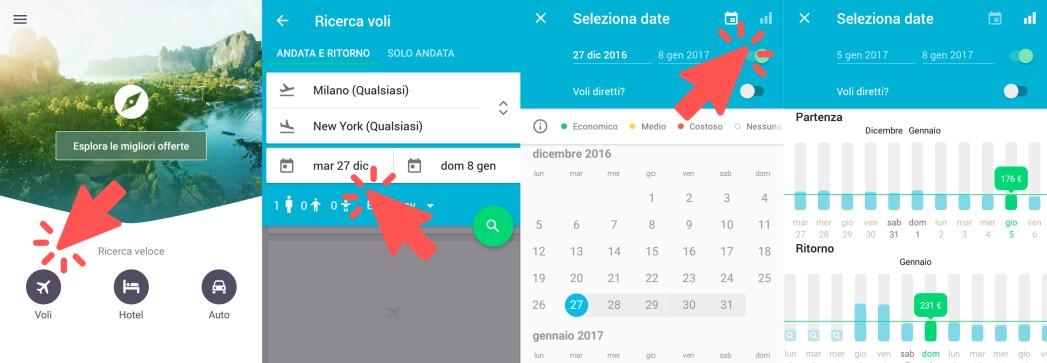 ricerca voli per mese intero su Skyscanner iOS app