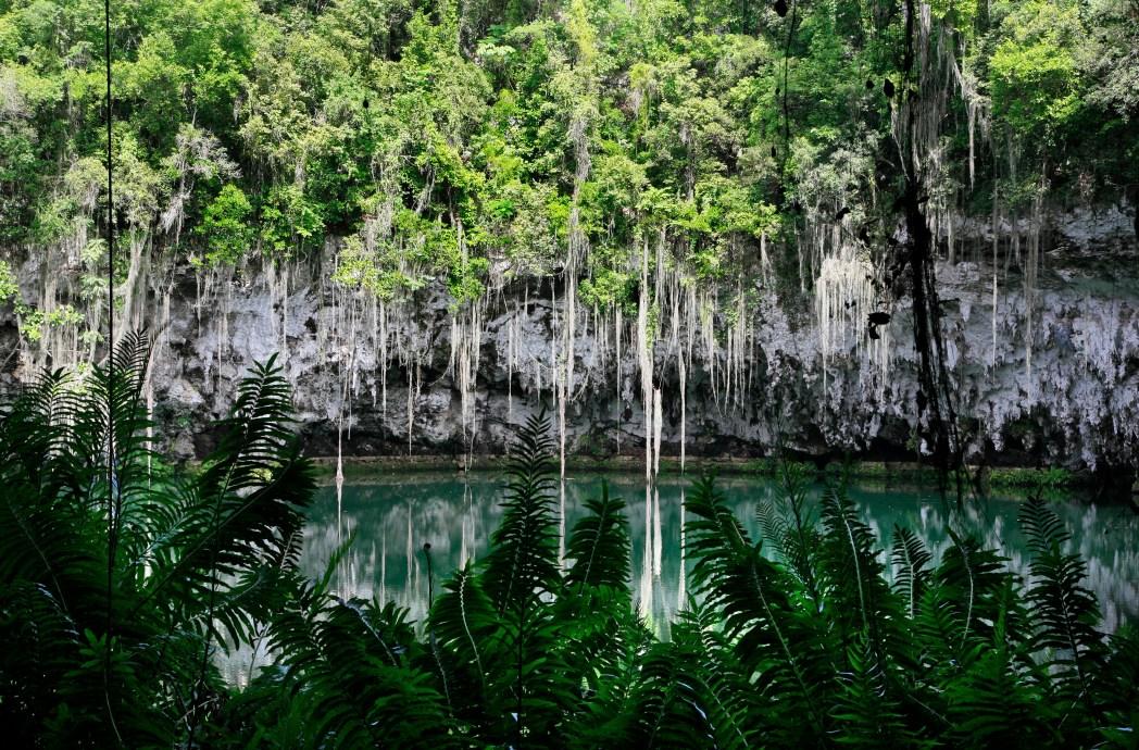 Vista di uno dei 3 laghi di Los Tres Ojos