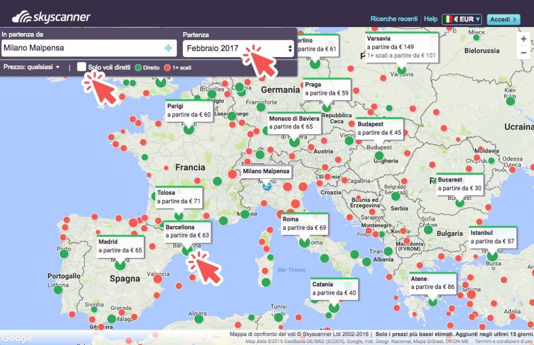 la funzione mappa di Skyscanner