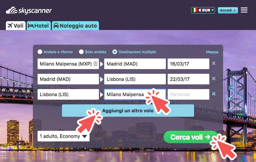 la ricerca voli per destinazioni multiple di Skyscanner