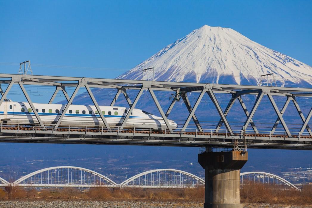 Vista del monte Fuji and Tokaido Shinkansen, Shizuoka, Japan
