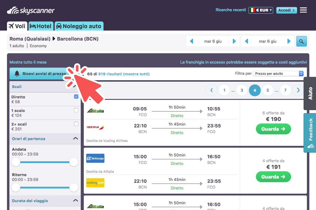 attiva la funzione avvisi di prezzo di Skyscanner