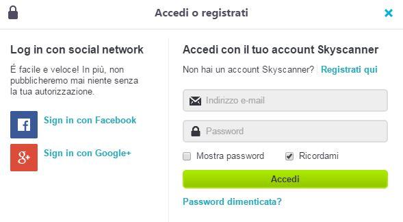 skyscanner log in