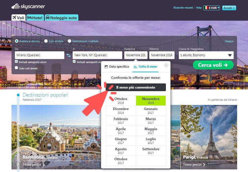 ricerca volo per il mese più conveniente con Skyscanner