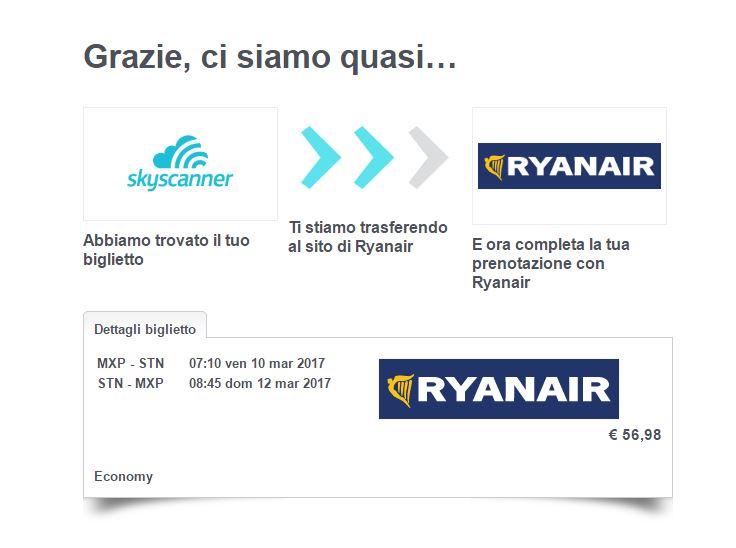 skyscanner ti trasferisce al sito del fornitore che hai scelto per completare la prenotazione del volo
